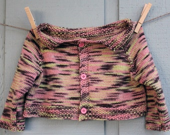 CLEARANCE - Toddler Girl Pink/Green/Brown Knitted Cardigan Sweater