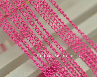16ft (5m) 2.2mm Pink Chains Small Necklace Chains/ Jewelry /Links /Flat Oval Chains