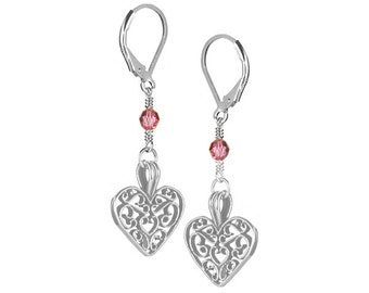 Ellie Sterling Silver, Swarovski Crystal Earrings