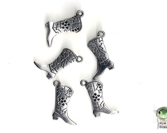 Charms: Cowboy Boot, Set of 5, 22x14mm, Can hold ss4 Rhinestones, Cowgirl boot, western boot, Country western, Old West, Bling, SLT143