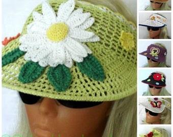 Crochet Sun Visor Summer Headband Green With Camomile Flower