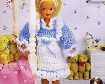 "Crochet Barbie Fashion Doll Pattern RUFFLED PINAFORE for 9 1/2"" Doll"