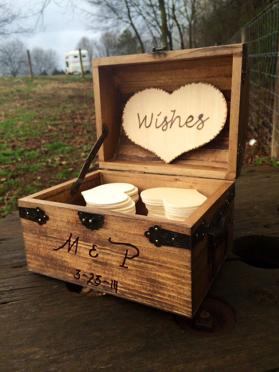 Personalized Rustic Wedding Wood Chest - Guest Book Alternative - Shabby Shic Wedding - Advice Box - Wishing Well