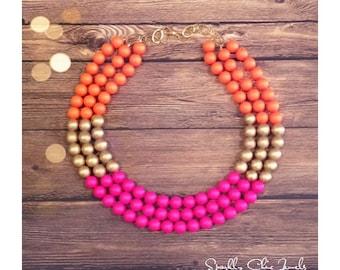Swarovski Neon Pink and Orange Color Block Necklace
