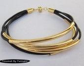 Black & Gold Noodle Bead Bracelet - Bangle Bracelet, Wrap Bracelet