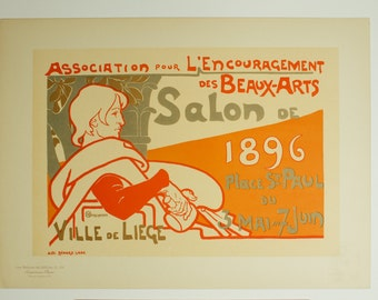 Emile Berchmans, Original Maitres de L'Affiche, Belgium 1896, Plate No.108. Ad for an art exhibit in Liege.