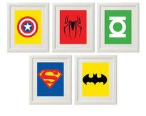 Superhero Wall Art,  Superhero Art, Superhero logos, Boys Decor, Play Room decor, Instant download (S1)