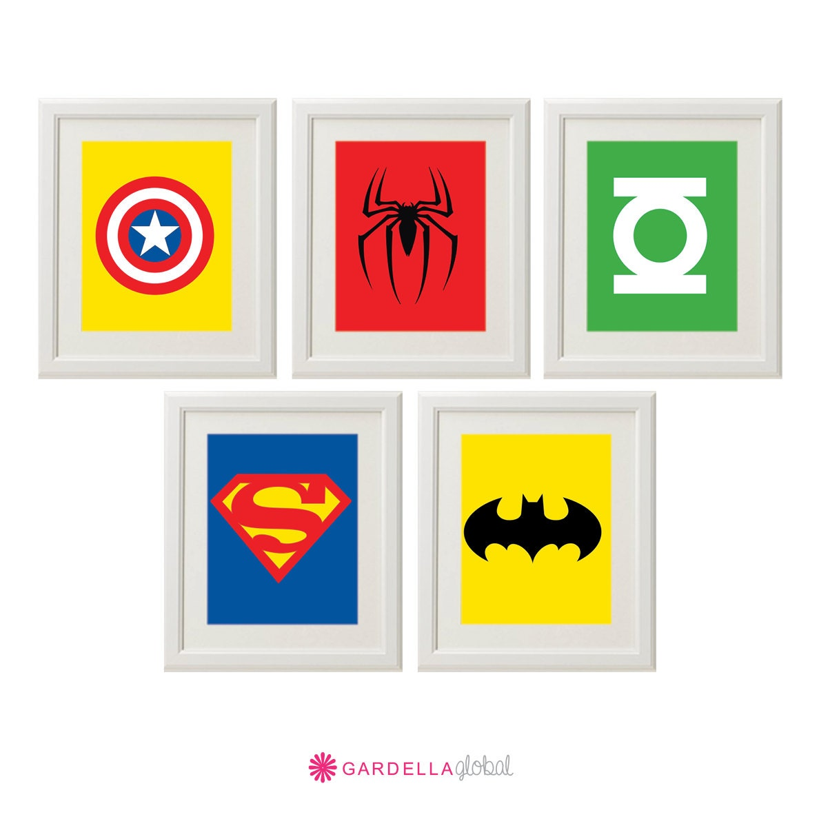 superhero wall art superhero art superhero logos boys. Black Bedroom Furniture Sets. Home Design Ideas