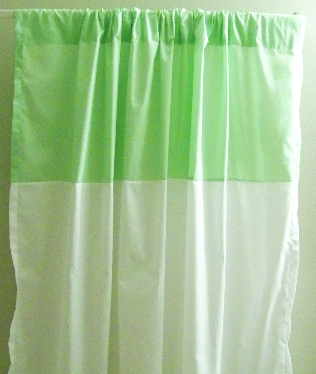 lime green and white colorblock curtain window treatment