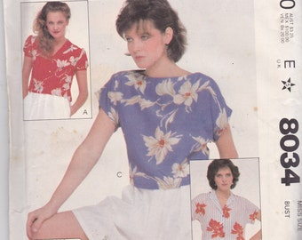 McCalls 8034 Vintage Pattern Womens Button Up or Pull Over Top Size 8 UNCUT