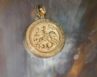 """925 Sterling Silver Russian Orthodox Pendant """"St. George The Concueror""""14 K Gold Pated"""