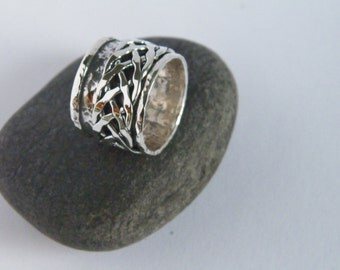 Hammered Oxidized Sterling Silver Spinner Ring-Stamped.925 with Braided Spinner-Custom Size