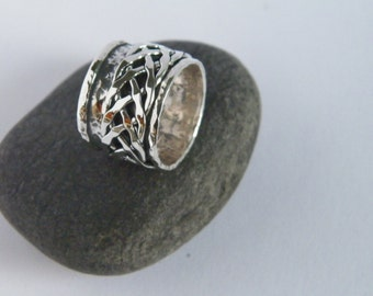 Hammered Oxidized Sterling Silver Spinner Ring-Stamped.925 with Braided Spinner
