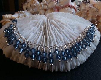 Denim Blue Swarovski Crystal Necklace