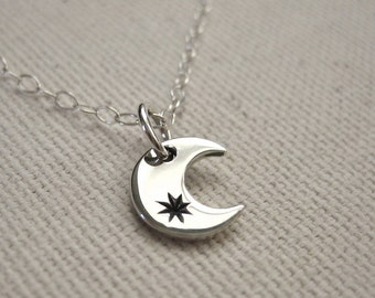 Tiny Moon with Stamped Star Necklace Sterling Silver - Celestial Jewelry, Bohemian Necklace, Customize, Personalize