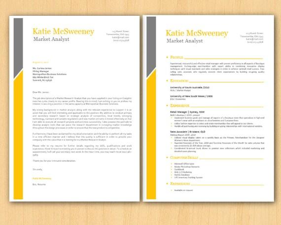 yellow grey left bar clean microsoft word resume 1  u0026 2 by