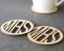 Mrs and Mrs Wooden Coasters