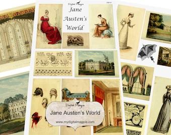 Jane Austen digital collage sheet pintable download 1800 regency fashion 19th century images vintage pride and prejudice