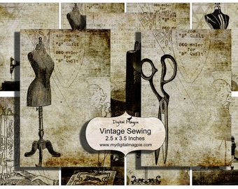 Digital collage sheet Vintage Sewing tags ATC 2.5 x 3.5 background grungy digital papers instant download printable antique sewing machine