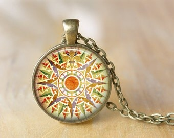 Vintage Compass Pendant Necklace Art Jewelry  Print Photo Pendant  Necklace Gift For Her (015)