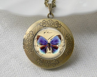 Butterfly Locket Necklace Art Photo Print Jewelry Locket Pendant Gift For Her (001)