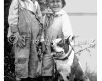 Vintage Dog Card --Children with Pit Bull Pal, c. 1905, U.S.A.