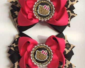 Hello Kitty Leopard  Hair  Bow Set  red or hot pink