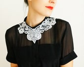 Ustunia // Handmade White Lace Collar Necklace Applique Blouse Accessories Bib Necklace Statement Necklace - EPUU