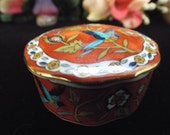 western influenced, fine china trinket holder