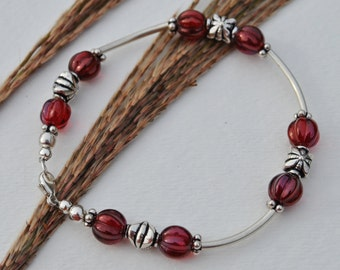 Sterling Silver Bracelet Set with wine colored Czech glass beads, sterling silver Bali beads, sterling silver tube beads