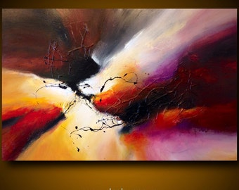 "Large abstract painting by Dan Bunea: ""The encounter"", 80x120cm or 32x48in, acrylics on canvas, for sale"
