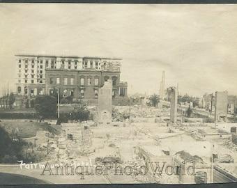 Farimount Hotel ruins San Francisco CA 1906 earthquake antique photo