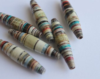 "6 Large 1 3/4"" Paper Beads, Hand rolled  Paper Beads, Bicone Paper Beads, Craft Beads"