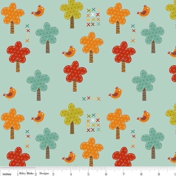 "Riley Blake Designs ""Giraffe Crossing"" by The RBD Designers -Giraffe Trees Teal C2851-TEAL"