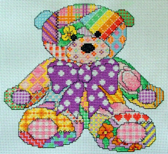 Cute Patchwork Teddy Bear Cross Stitch Pattern, Instant Download PDF