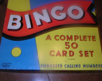 Vintage Bingo Game with Wooden Playing Pieces