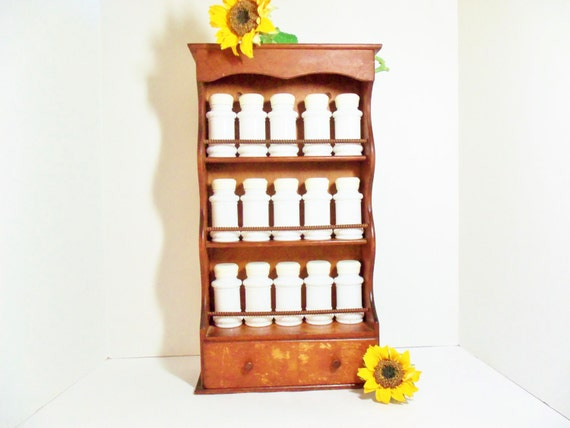 Countertop Spice Rack Plans : Spice Rack with 15 Milk Glass Spice Bottles or Jars Wall Mount Cabinet ...