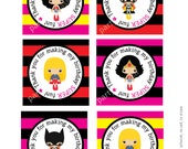 Girl Super hero thank you tags 3inch square printable - INSTANT DOWNLOAD