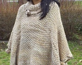Knitted poncho,Knitting custom poncho   , warm poncho, beige-brown range ponchos, ladies ponchos, knitted warm cloak