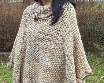 Knitted poncho,Knitting custom poncho   , warm poncho, beige-brown range ponchos, ladies ponchos, knitted warm cloak