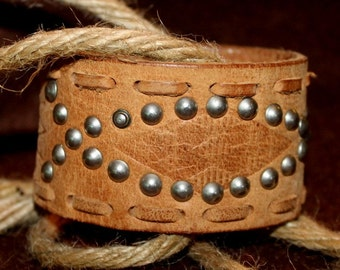 Tan Leather Cuff Bracelet Embossed Silver