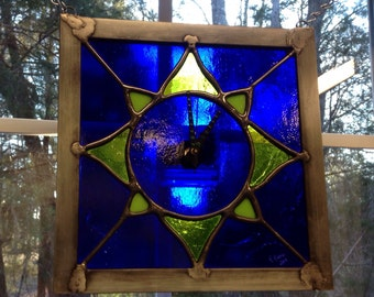 Stained Glass Clock Sun Green and Blue