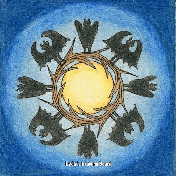 Note Cards, Notecards, Blank Cards, Halloween Cards, Halloween Art, Moon Art, Small Art, Mandala, Mandala Print, Spooky Decor, Bat Art