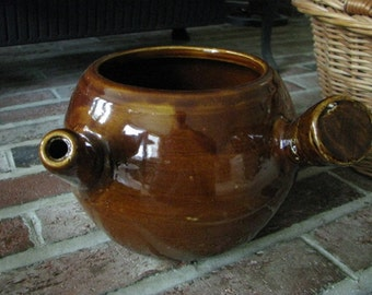 Brown Bean Pot With Handle and Spout Pottery