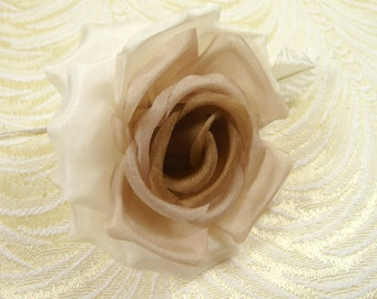 Silk Millinery Rose Ivory Cappuccino Brown Shaded for Hats Fascinators Wedding Dress Brooch