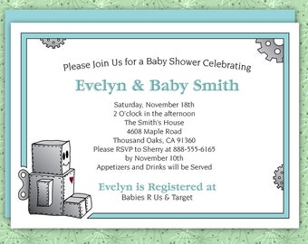Custom Robot Baby Shower or Birthday Invitation Download/Printable File for Boy or Girl