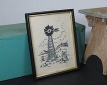Old Farm Windmill . Vintage Paragon Needlecraft Embroidery . 1975 . Framed