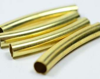 25 Pieces Raw Brass 5x32 mm Curved Brass Spacers