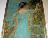 Victorian Lady In Blue Dress Picking Flowers in Summer Garden Antique Chromolithograph Print Gold Wood Carved Frame