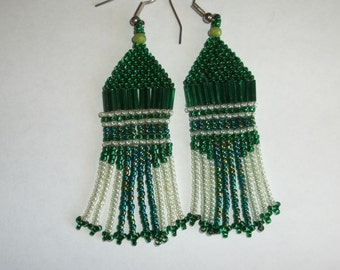 CLEARANCE Long beaded earrings, green